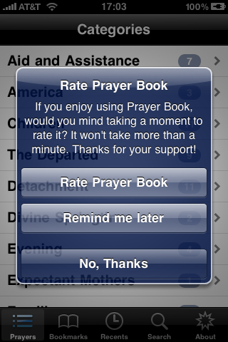 Appirater as used in Prayer Book app